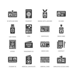 Documents identity flat glyph icons id vector
