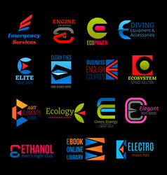 E letter icons modern business and industry design vector