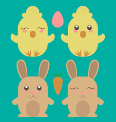 easter chick and rabbit cute animals farm image vector image