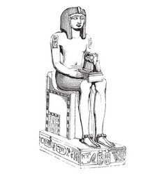 egyptian statue in black basalt in the british vector image