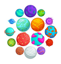 fantastic planets icons set cartoon style vector image