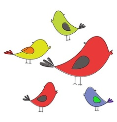 Five colored birds vector image
