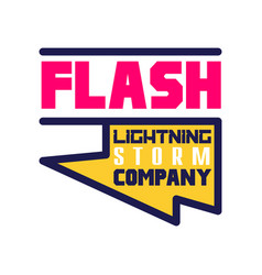 flash lightning storm company logo template vector image