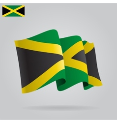 Flat and waving Jamaica Flag vector image