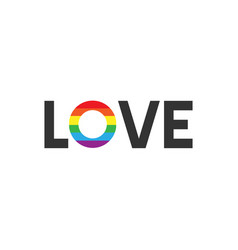 Flat love with rainbow lgbt logo lettering vector