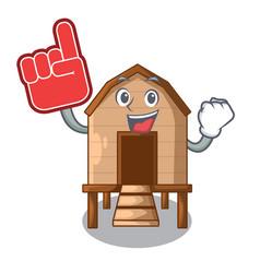 Foam finger chicken in a wooden cartoon coop vector