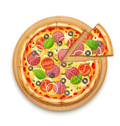 Fresh pizza with tomato vector