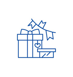 gift and decoration line icon concept gift and vector image