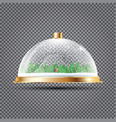 Glass dome with snow santa and trees on vector