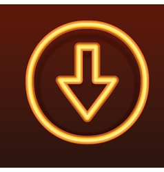 Glowing golden icon Down arrow vector image