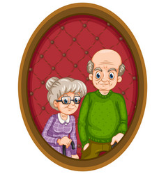 Grandparents picture on wooden frame vector
