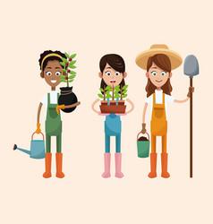 Group women farmer equipment work vector