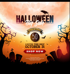Halloween sale banner with moon crow vector