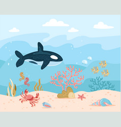 hand drawn cartoon underwater vector image
