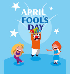 happy little girls april fools day card vector image