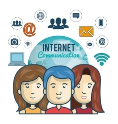 internet connection globe persons web graphic vector image