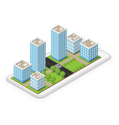 isometric city mobile phone vector image