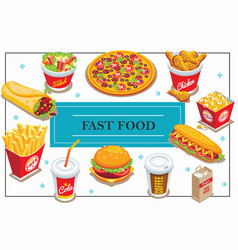 isometric fast food concept vector image