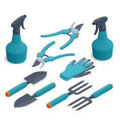 Isometric set garden tools rake pruner vector