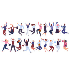 jumping business people happy businessman office vector image
