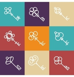 Key icons in line style vector