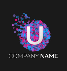 letter u logo with blue purple pink particles vector image