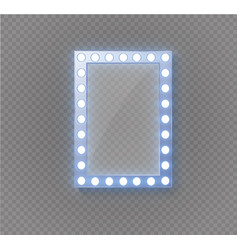 makeup mirror isolated with gold lights vector image