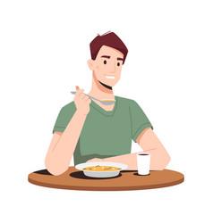 man enjoy dinner eat soup spoon juice in glass vector image