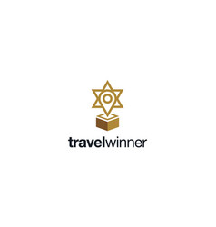 map pin with trophy and star logo design concept vector image