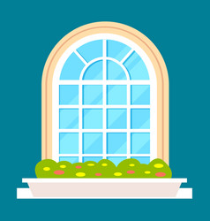 Modern residential window with flower vector
