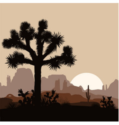 morning landscape with joshua tree and mountains vector image