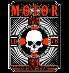 Motorcycle poster design skull fashion tee graphic vector