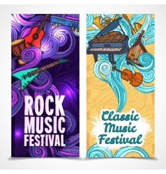 Music vertical banners vector image