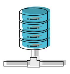Network server storage in watercolor silhouette vector