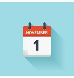 November 1 flat daily calendar icon date vector