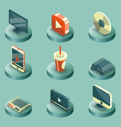 online cinema color isometric concept icons vector image