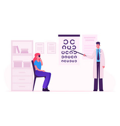 ophthalmologist doctor check eyesight for vector image