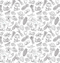 Outline hand drawn vegetable pattern vector image