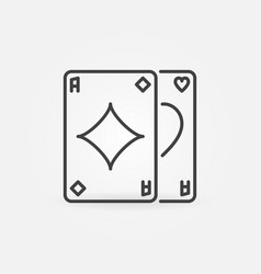 pair aces outline poker card game vector image
