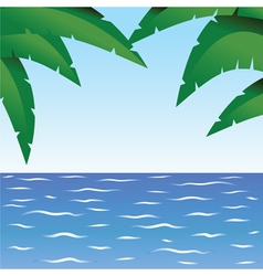 Palm and ocean vector image