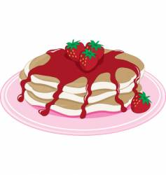 pancakes strawberry vector image