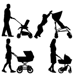 People pushing strollers vector image vector image