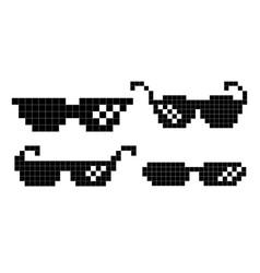 Pixel glasses black game glasses in 8-bit vector