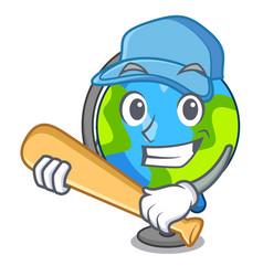 Playing baseball globe character cartoon style vector
