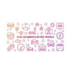 plug-in electric vehicle colorful outline vector image