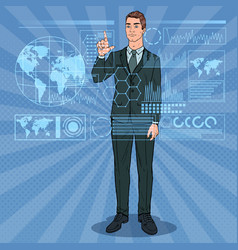 pop art businessman using holographic interface vector image