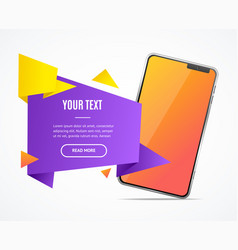 realistic detailed 3d mobile phone banner card vector image