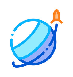 rocket fly round planet icon outline vector image