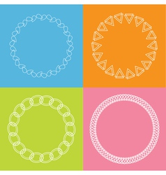 Round abstract geometric shapes frame set Outline vector
