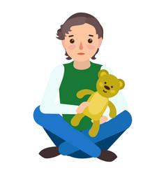 sad boy teddy bear icon flat style vector image